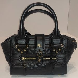 Burberry Dark Brown Quilted Leather Small Manor